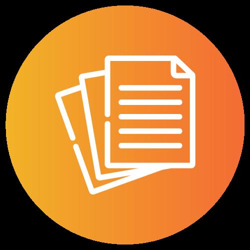 Provider Healthcare Credentialing orange circle icon.